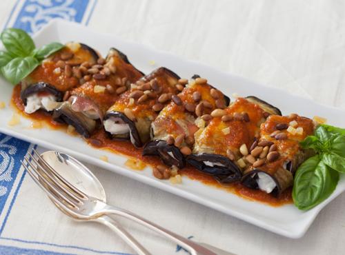 Sicilian style eggplant rolls