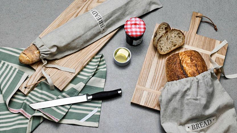 Serving Paddle Long $89.99 / Rectangle $99.99, Baguette Bread Bag $14.99, Loaf Bread Bag $14.99, Tea Towel $7.99